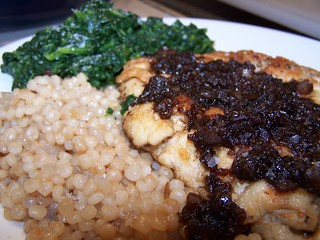 Sauteed Chicken Breasts with Balsamic Vinegar Pan Sauce, Israeli Couscous and Spinach | by swampkitty