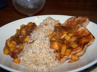 Skillet Pork with Sweet Balsamic Peaches and Brown Rice | by swampkitty