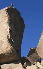 Climber on SW Corner (5.6) - Headstone Rock, Joshua Tree | by The Hike Guy