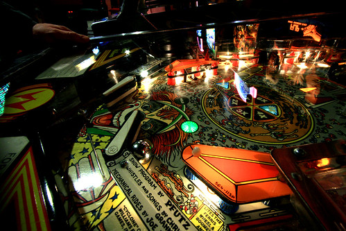 "Detail of the ""Cyclone"" pinball game 