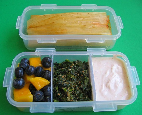 Tamale and spinach lunch for preschooler | by Biggie*