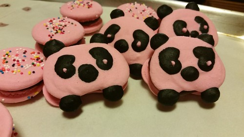 Pink panda vegan macarons with coconut cream ganache