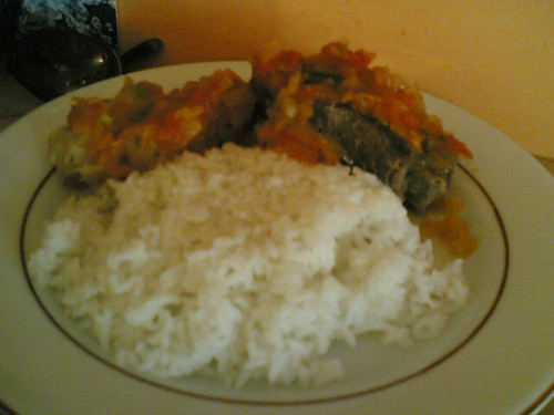Colombian lunch: beef and plantain with veggies and rice | by clotilde