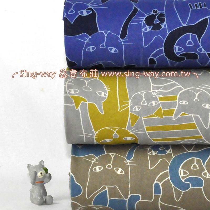 滿滿大貓(大特價) 抽像貓 手工藝DIy拼布布料 CF550532