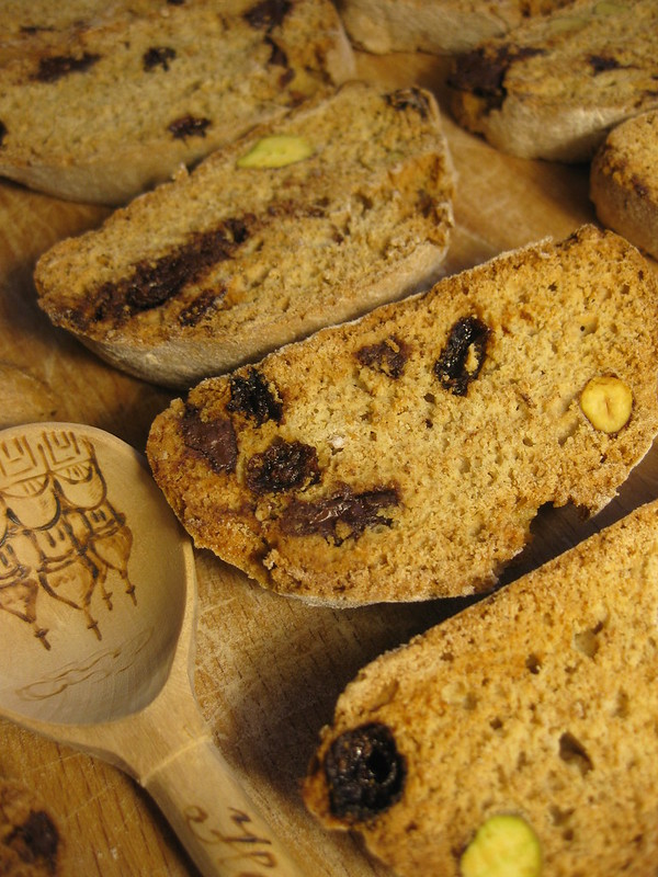 Whole Wheat Biscotti with Chocolate and Pistachios