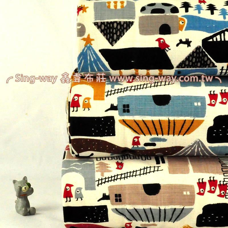 原-北歐小鎮 街景 小紅帽 手工藝DIy拼布布料 CF590059