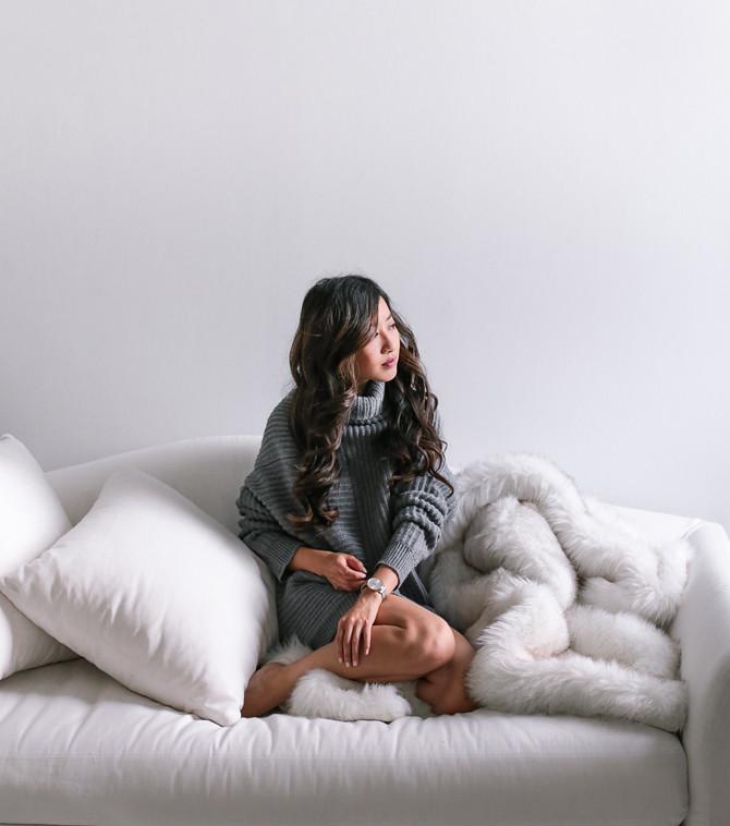 oversized gray cozy sweater extra petite
