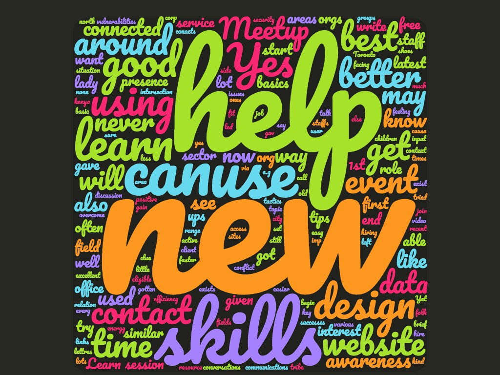 wordcloud How has attending NetSquared meetups helped your organization