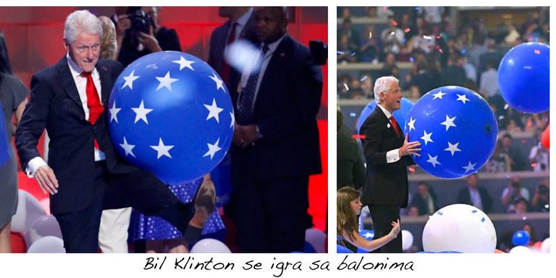 Bil Klinton se igra sa balonima