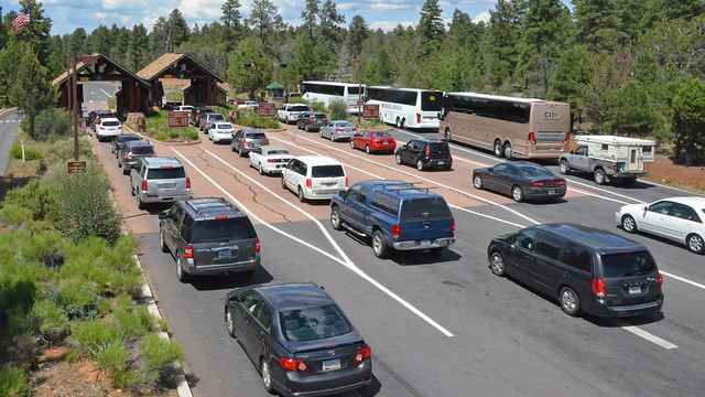 photo of Grand Canyon National Park South Entrance with Cars