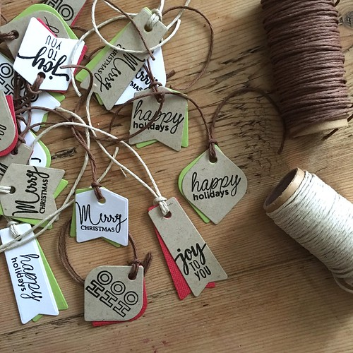 Mama Elephant mini messages on Christmas gift tags