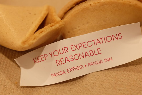 keep your expectations reasonable PANDA EXPRESS Fortune cookie