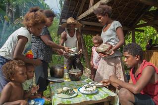 A family shares a meal of Mozambique tilapia, cabbage, potato and rice, Taflankwasa village, Malaita Province, Solomon Islands. Photo by Filip Milovac.