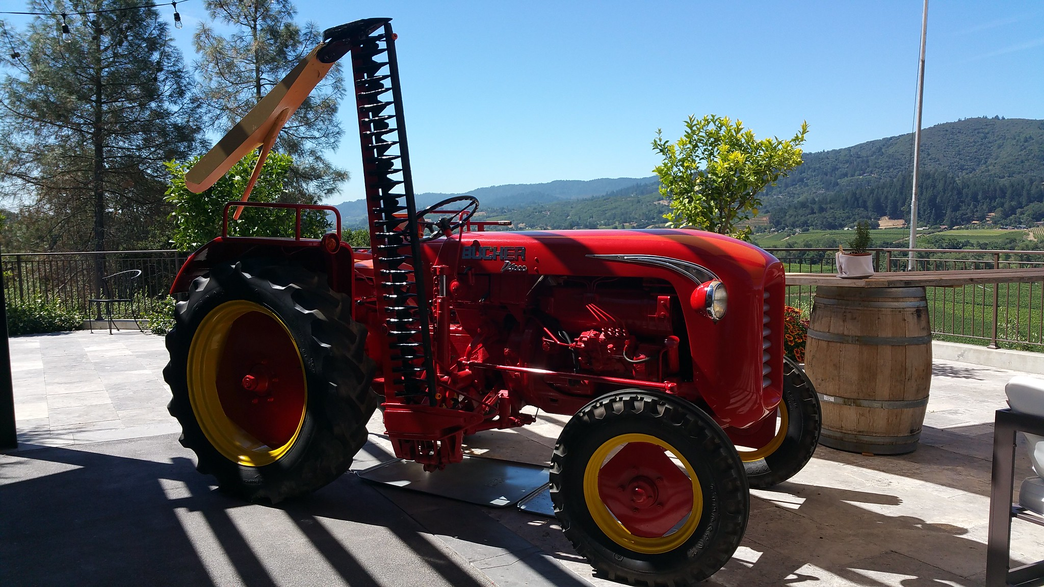 The tractor that is inspiration for Trattore's wine and can be seen on their wine labels
