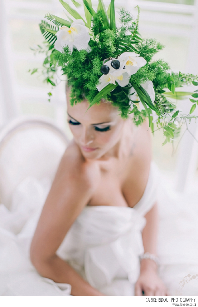Bridal make-up by Kirsled Lash with botanical headpiece