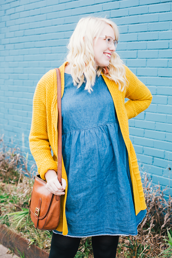 austin style blogger asos smock dress yellow sweater3