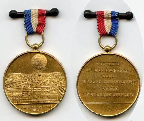 1878 Balloon Ascent over Paris Medal