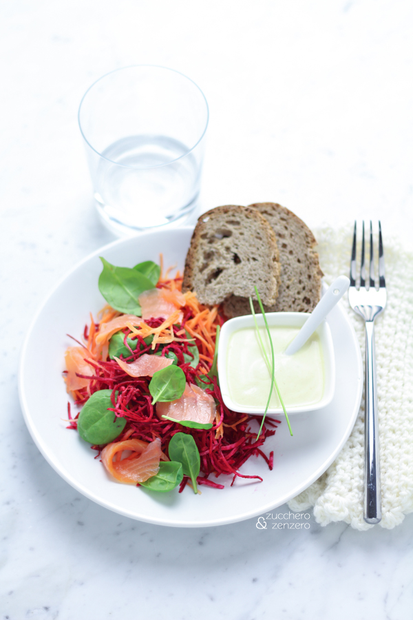 Beet, carrot and smoked salmon salad