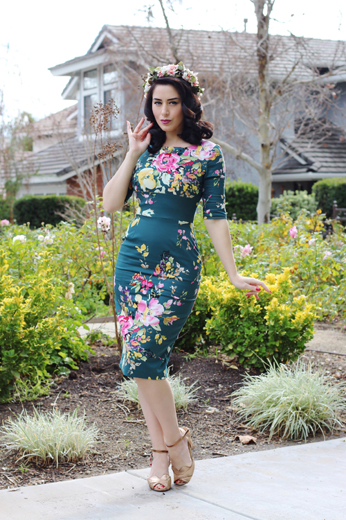 Unique Vintage The Pretty Dress Company Vintage Deep Green Seville Floral Half Sleeve Hepburn Wiggle Dress