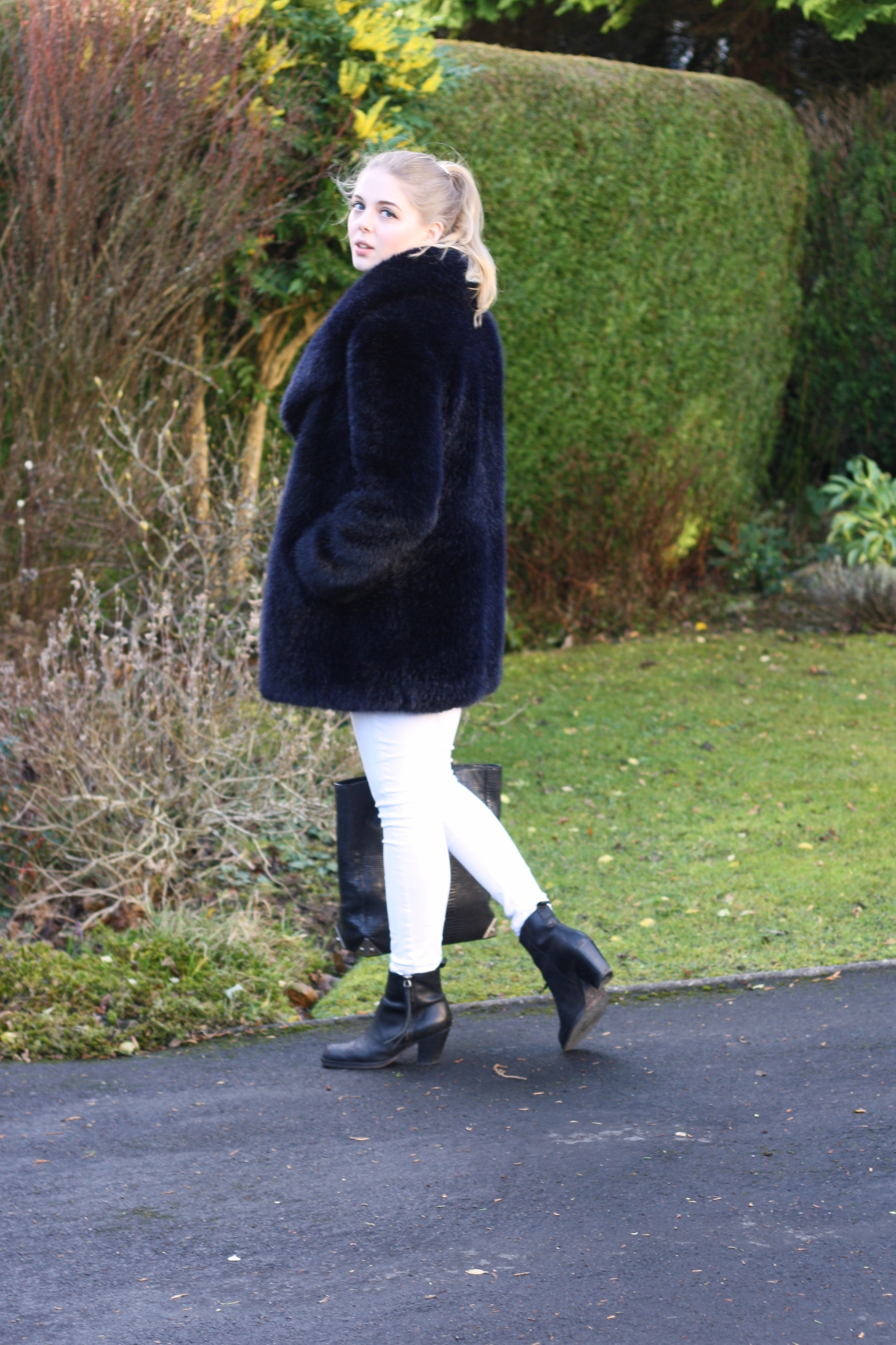 Whistles blue fur coat, Acne black Pistol boots and Topshop white skinny jeans