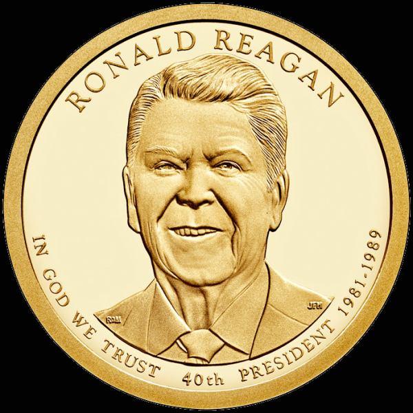 Prezidentský 1 dolár USA 2016 P, 40. prezident Ronald Reagan