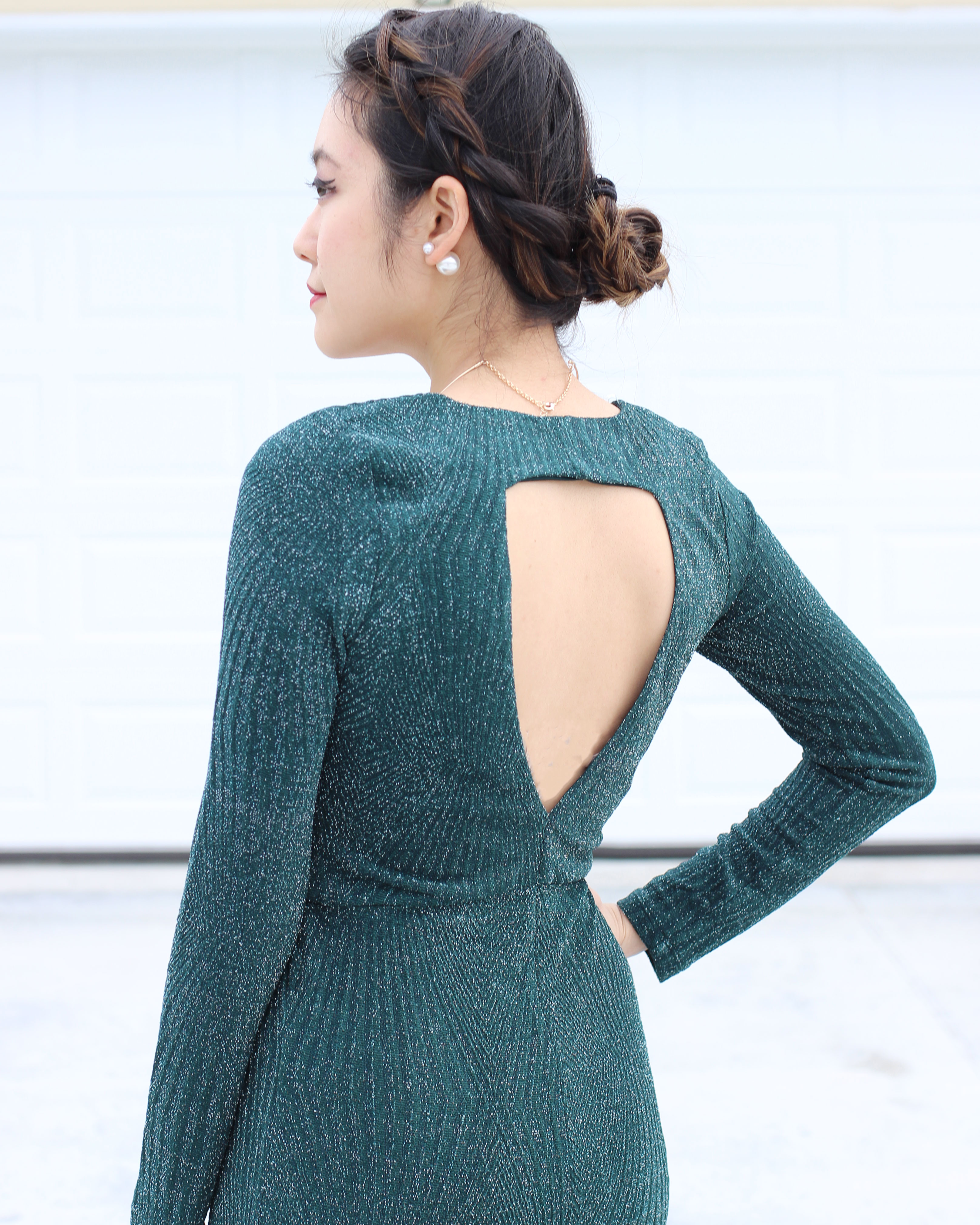 Backless green glittery long sleeve bodyon dress and crown braid bun