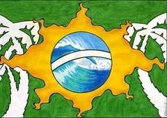 """""""A Bandeira do Brasil"""", die Nationalflagge Brasiliens als Zeichnung, etwas verfremdet mit weißen Palmen links und rechts. Bild: Carsten Hahn / flickr Creative Commons Licence Namensnennung, nicht kommerziell"""