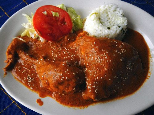 Chicken mole at San Sebastian restaurant, Mexico