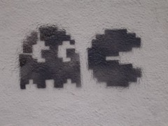 Street Stencil Graffiti - Action PacMan (Compte Borrell with Tamarit Corner - Barcelona) | by scalleja