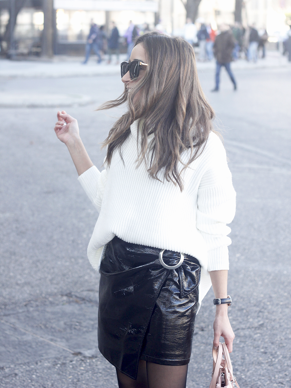 Black Patent leather skirt white sweater coach bag heels outfit style fashion winter13