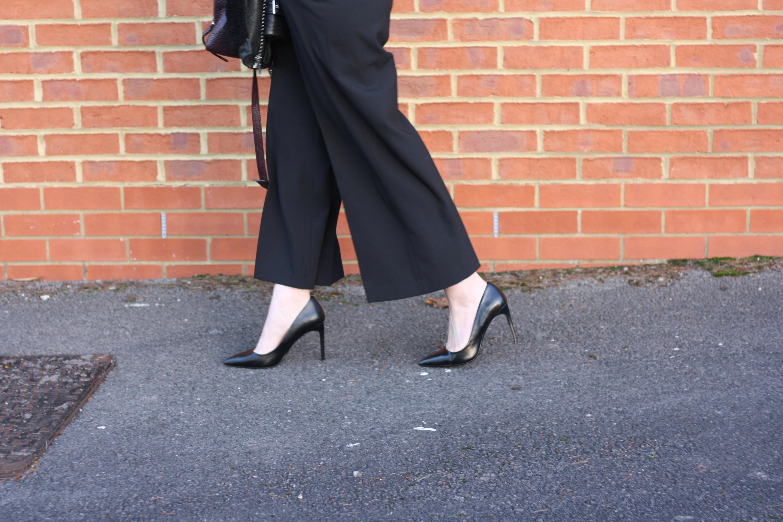 Zara black high waisted trousers and Zara black heeled court shoes