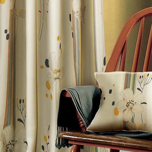 春城飛花(獨家) 優雅花卉 半遮光仿麻窗簾布 DA1190057