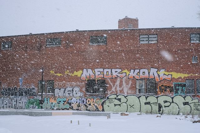 Snowstorm and bricks