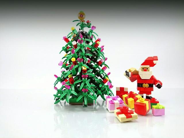 Season's Greetings - Santa, Christmas tree,  gifts.