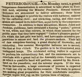 Lincolnshire Chronicle 27Jul1855 temperence event Casbon gardens