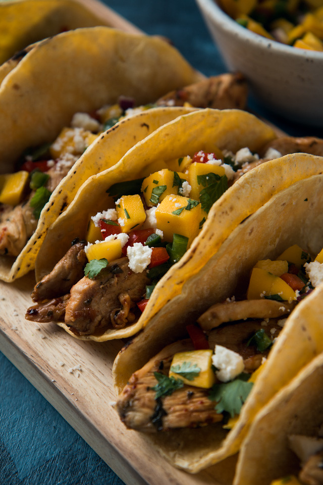 Chili Lime Marinated Chicken Tacos with Mango Salsa | Will Cook For Friends