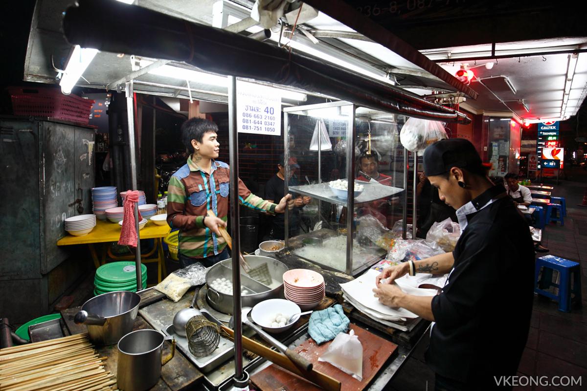 Bangkok Chinatown Yaowarat Fish Ball Noodle Stall