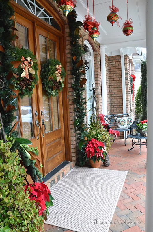 Christmas-Porch-Magnolias-Poinsettias-Housepitality Designs