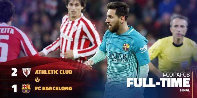Copa del Rey - Octavos de Final (Ida): Resultados: Athletic Club de Bilbao 2 - FC Barcelona 1