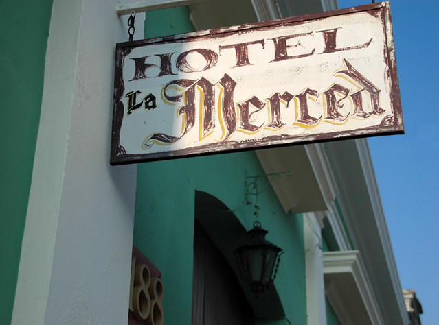 Hotel La Merced sign at Colima, Mexico