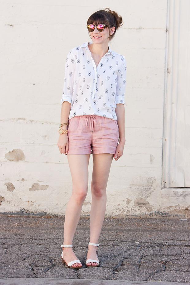 J.Crew Drawstring Linen Shorts, Loft Aztec Print Shirt, Loft Mirrored Sunnies