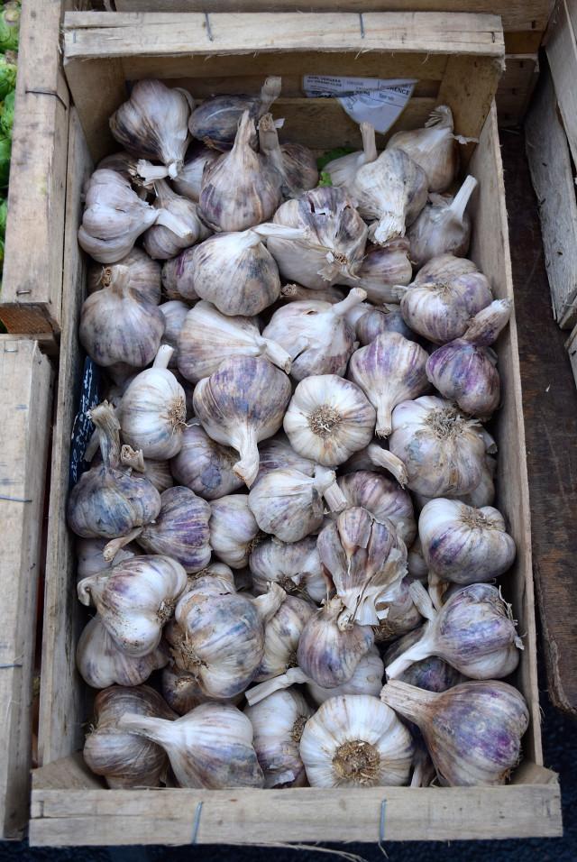 French Garlic at Combourg Market, Brittany | www.rachelphipps.com @rachelphipps