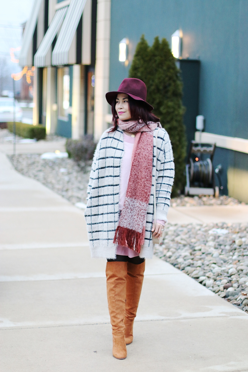 burgundy-hat-pink-scarf-window-pane-cardigan-otk-boots-4