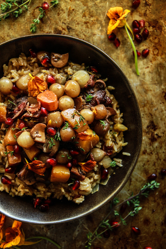 Coq Au Vin with Cranberry Thyme Rice from HeatherChristo.com