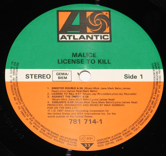 "Malice License to Kill 12"" vinyl LP"