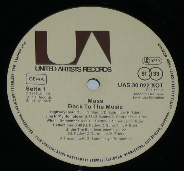 "MASS BACK TO THE MUSIC 12"" vinyl LP"