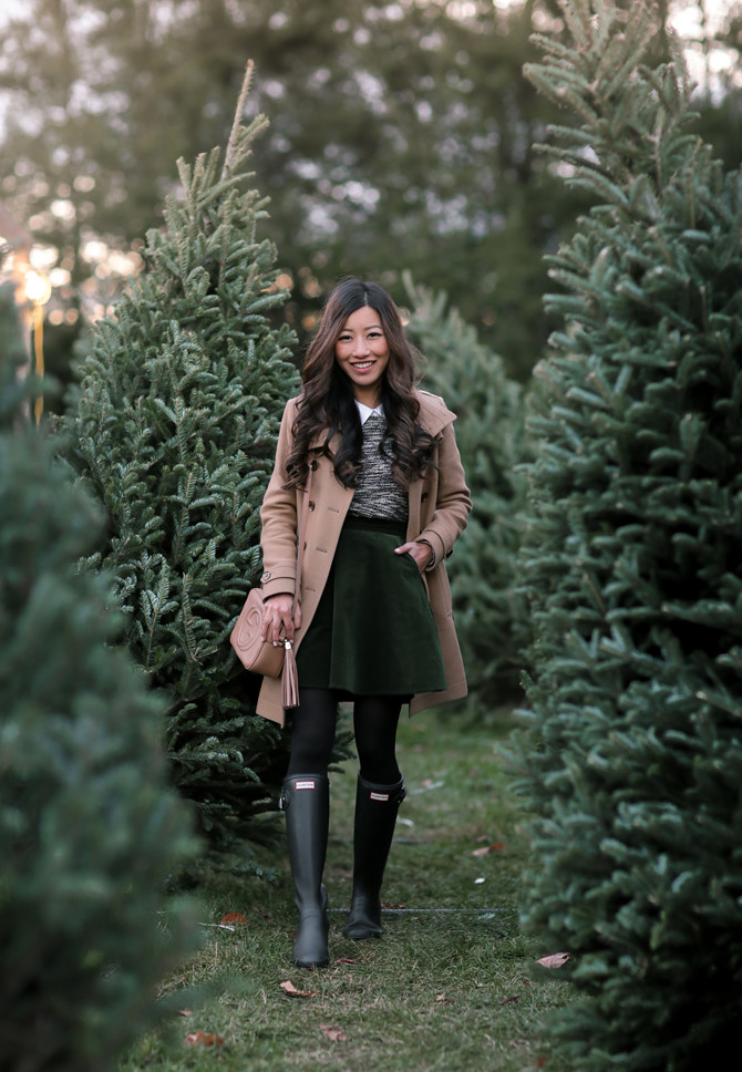 classic winter style burberry coat hunter boots extra petite