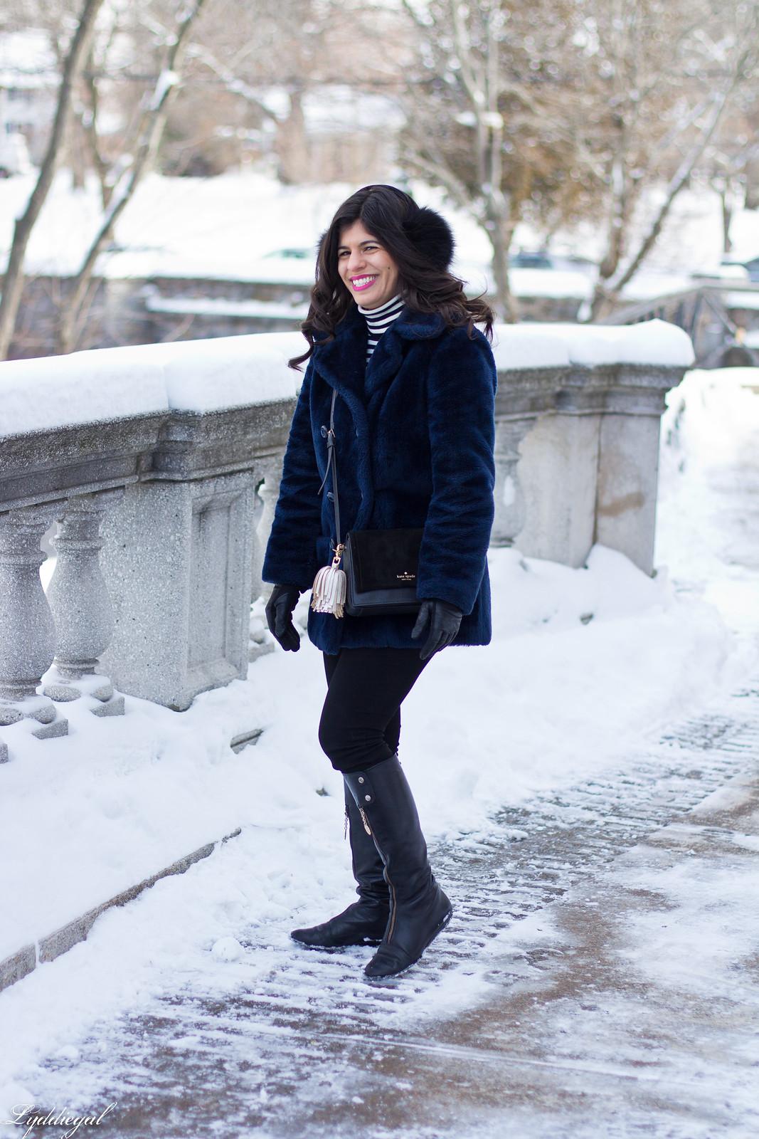 navy fur coat, black boots, striped turtleneck, fur earmuffs-2.jpg