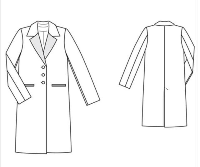 Burda 3 buton coat tech drawing