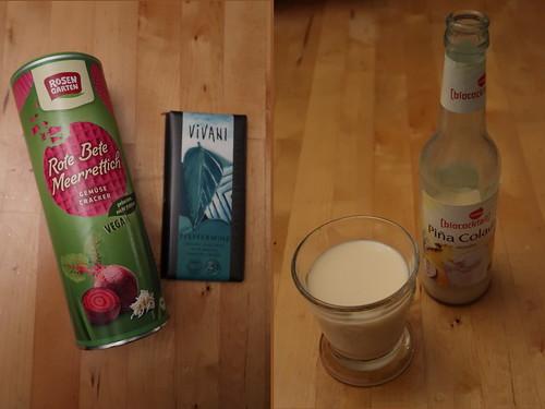 Rote Bete Meerettich Cracker (Rosengarten), Pfefferminz-Schokolade (Vivani) und alkoholfreie Piña Colada (Voekel)